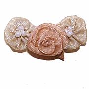 ART DECO French Ribbonwork Rose - Peach Rayon Silk Rose with Cream Daisies!