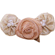 ART DECO French Ribbonwork Rose - Peach Rayon Silk Rose with Cream Daisies!