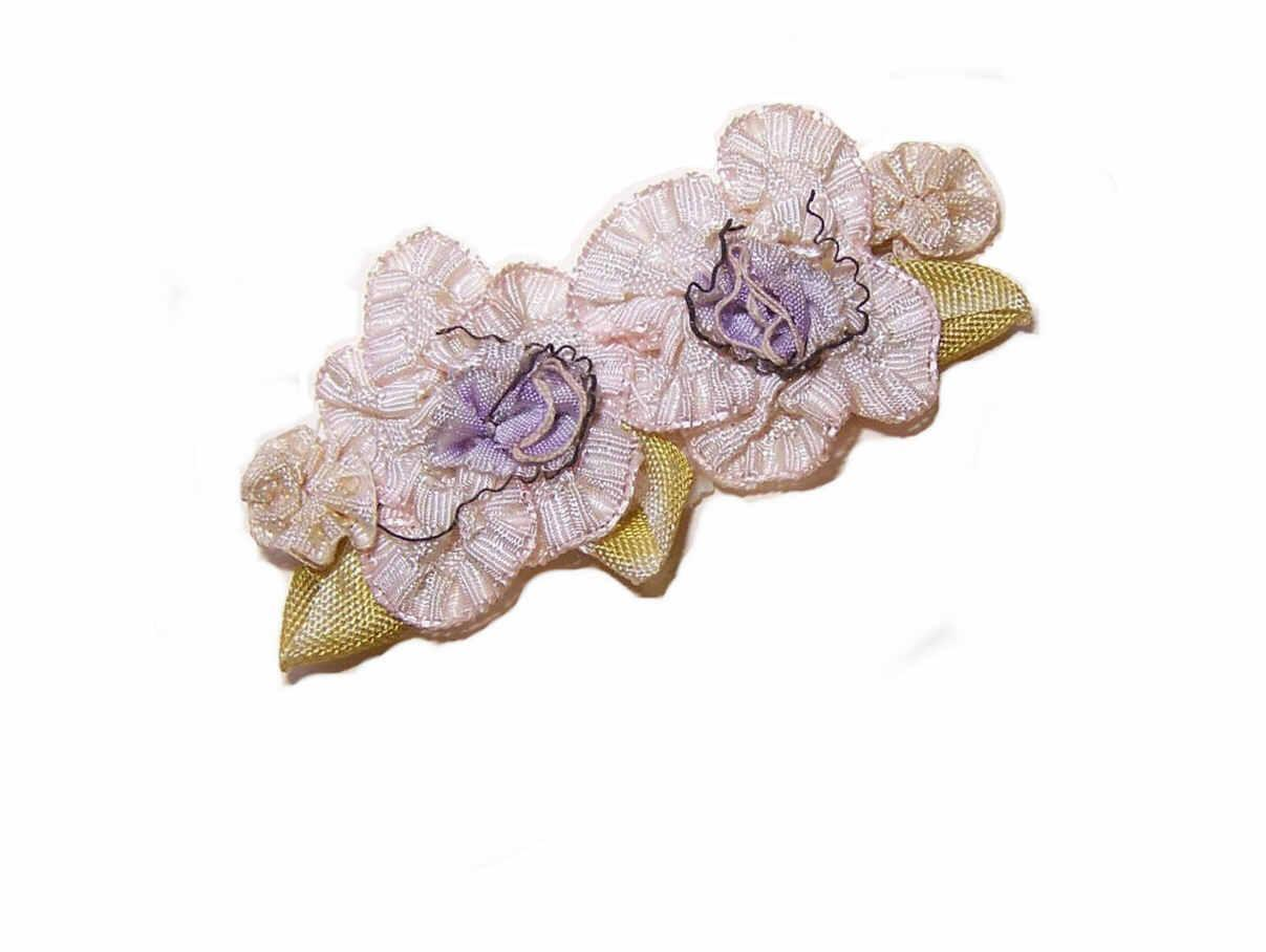 C.1900  FRENCH Ribbonwork Floral Applique - Cream & Lavender Silk Rayon with Green Leaves!