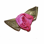 Vintage FRENCH SILK Ribbonwork Applique - Light & Dark Pink Rose with Olive Green Leaves!