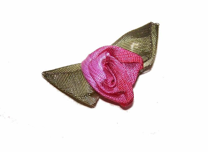 Vintage FRENCH SILK Ribbonwork Applique - Light & Dark Pink Rose with Olive Green Leaves!