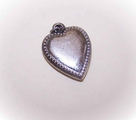 Vintage STERLING SILVER Puffy Heart Charm - Plain Front with Beaded Edge!