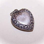 Vintage STERLING SILVER Puffy Heart Charm - Heart Center with Scrollwork Border!