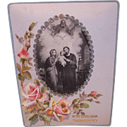 Dated 1958 FRENCH Hand Painted/Embroidered Souvenir of First Communion!