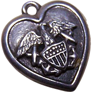 Vintage STERLING SILVER Puffy Heart Charm - Navy (Eagle with Anchors)!