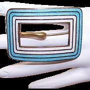 Stunning VICTORIAN Gilt Brass & Enamel Buckle Pin/Sash Pin!
