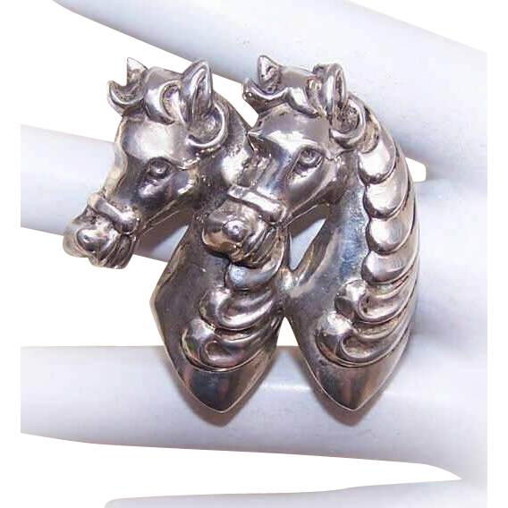 Vintage STERLING SILVER Pin/Brooch - Side by Side Carousel Horses!