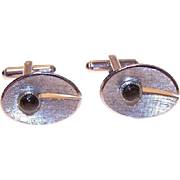 Swinging 60s STERLING SILVER & Black Star Sapphire Cufflinks/Cuff Links!