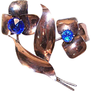 1950s RETRO MODERN Sterling Silver Vermeil & Blue Rhinestone Floral Pin!