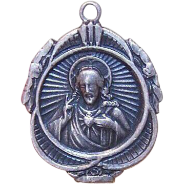 Vintage STERLING SILVER Religious Charm/Medal - Sacred Heart of Jesus!
