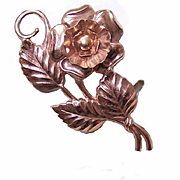 1950s Retro Modern STERLING SILVER Vermeil Floral Pin/Brooch!