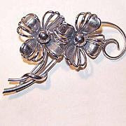 50s Retro Modern FORSTNER Sterling Silver Floral Pin/Brooch!