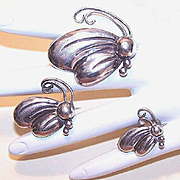 Trio of STERLING SILVER Butterfly Pins by Victoria (Ana Maria Nunez de Brilanti), Taxco, Mexico!