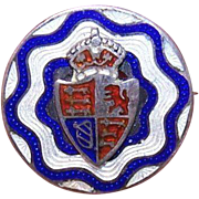 Edwardian STERLING SILVER & Enamel Pin/Brooch - British Coat of Arms!
