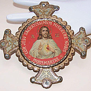 Fabulous VINTAGE Lithographed Religious Tin Plaque from Montmarte, France!