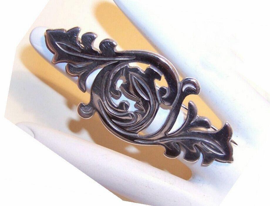 Vintage TAXCO 980 Silver Pin/Brooch - Leafy Swirls!