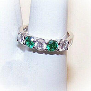 Sparkly STERLING SILVER, White & Green Cubic Zirconia/CZ Fashion Ring!