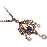 EDWARDIAN 14K Gold, .40CT Sapphire & Natural Pearl Lavaliere with Original Chain!
