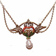 Ravishing ART NOUVEAU 14K Gold, Enamel & Natural Pearl Necklace!