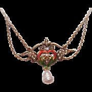Ravishing ART NOUVEAU 14K Gold, Enamel & Natural Pearl Necklace!