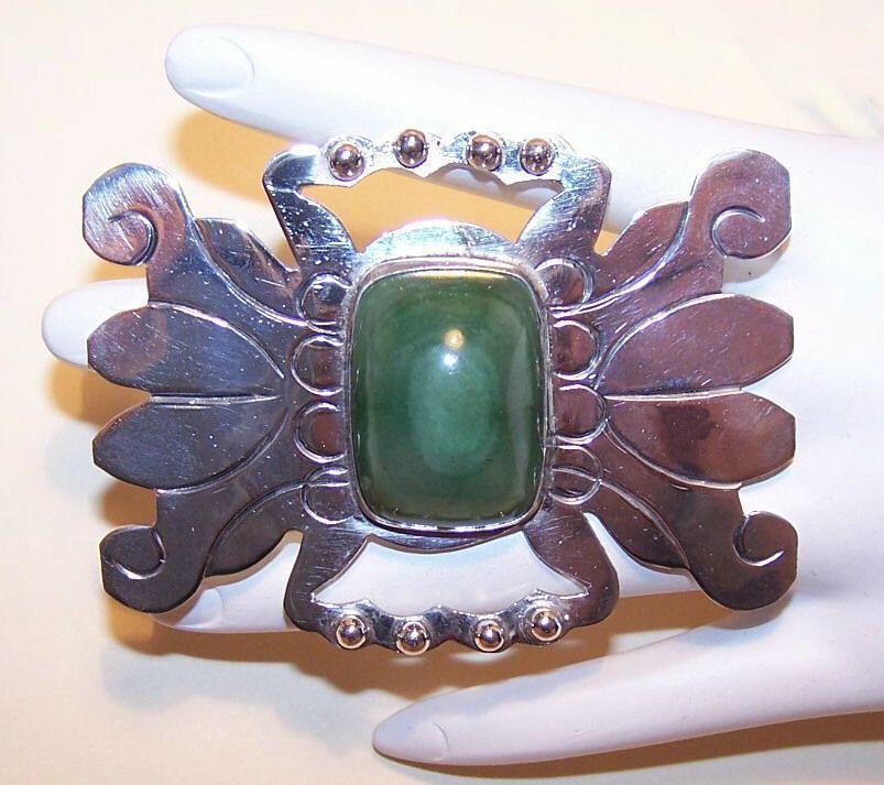H-U-G-E Mexico Silver & Green Onyx Crab-Like Pin/Brooch!