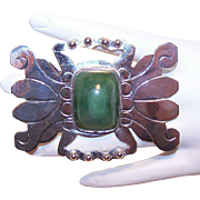 H-U-G-E Mexico Silver & Green Onyx Crab-Like Pin/Brooch!