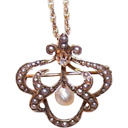 ANTIQUE VICTORIAN 14K Gold, Diamond & Natural Pearl Watch Pin/Brooch!