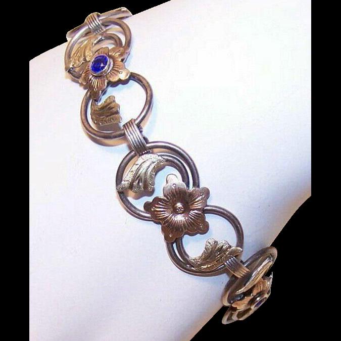 1950s STERLING SILVER, 14K Gold & Blue Rhinestone Link Bracelet by Wells!