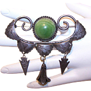 1950s STERLING SILVER & Green Onyx Pin with a Native American Look!