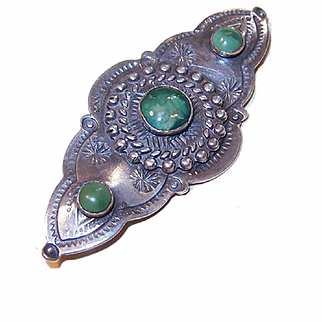 """1930s Native American """"Old Pawn"""" STERLING SILVER & Turquoise Pin!"""
