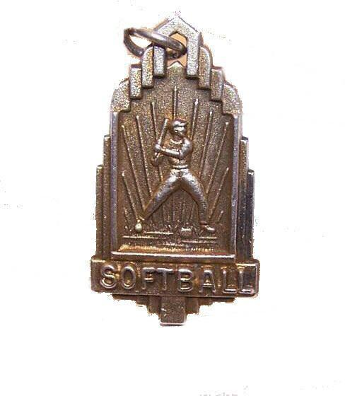 Vintage STERLING SILVER Vermeil Medal/Charm for Softball!