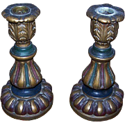 Stunning Pair of ART DECO Painted Italian Composition Candle Holders/Candlesticks!