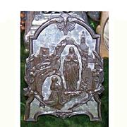 "Fabulous FRENCH C.1920 Aluminum ""Saint Bernadette & The Virgin Mary"" Religious Icon!"