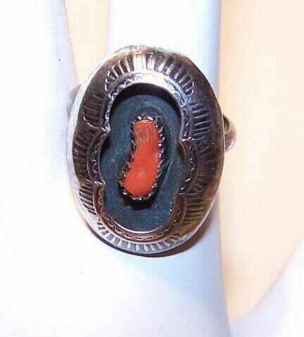 Vintage STERLING SILVER & Red Coral Ring - Shadow Box Design!