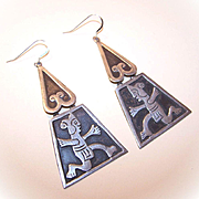 Fabulous 1950s STERLING SILVER Drop Earrings from Mexico!