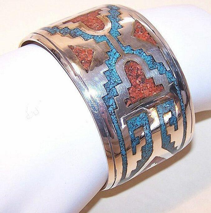 VINTAGE Sterling Silver, Crushed Turquoise & Coral Cuff Bracelet!
