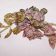 C.1890 FRENCH Variegated Silk Ribbon Floral Spray Applique!