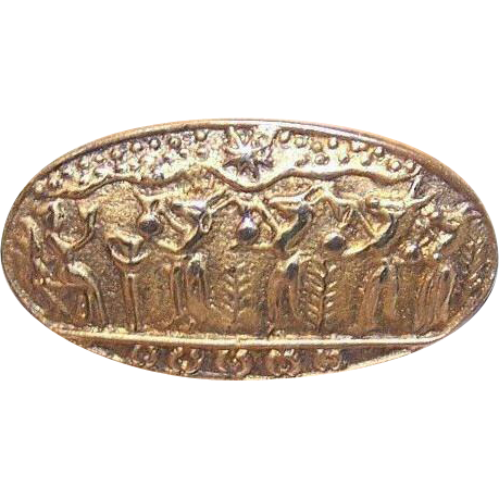 Vintage 900 Silver Vermeil Pin from Egypt with Ancient Egyptian Scene!