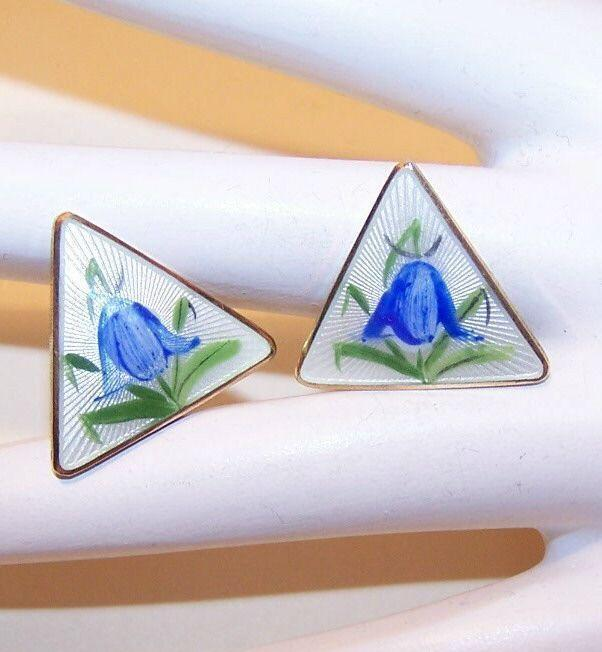 OPRO, Norway Sterling Silver & Enamel Clipback Earrings - Bluebells!