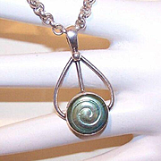 Interesting STERLING SILVER & Art Glass Pendant!