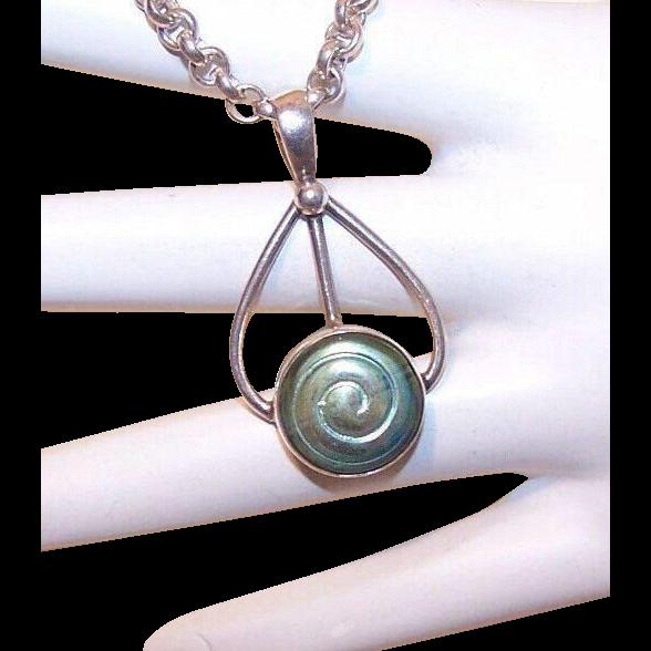 Vintage STERLING SILVER & Art Glass Pendant - Lovely Aqua Opalescent Colors