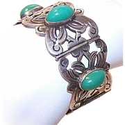 Stunning 1950s MEXICO SILVER Link Bracelet with Large Oval Green Cabs!