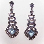 Vintage STERLING SILVER, Marcasite & Rhinestone Drop Earrings!