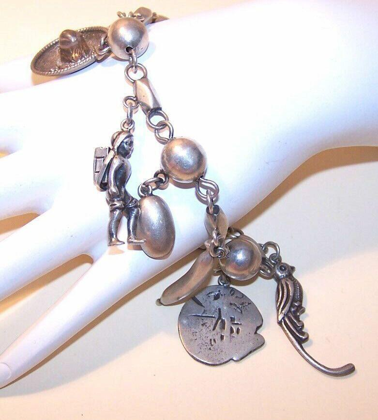 Vintage PARRA, MEXICO Sterling Silver Charm Bracelet with Charms!