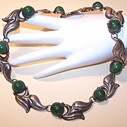Pre-Eagle Mexican STERLING SILVER & Dyed Green Onyx Necklace!