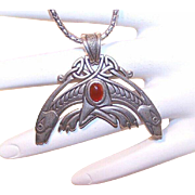 Limited Edition STERLING SILVER & Carnelian Pendant by Kurt Morrison!