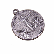 Interesting Silver Religious Medal/Pendant - Pope Pius XI & Jesus with Angels!