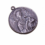 Vintage STERLING SILVER Religious Medal/Charm - Madonna & Child and Saint Gerard!