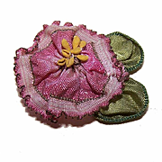 ART DECO French Ribbonwork Rose - Mauve Silk Rayon with Green Ombre Leaves!