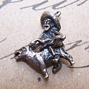 1960s STERLING SILVER Charm - Man on Donkey Singing His Heart Out!